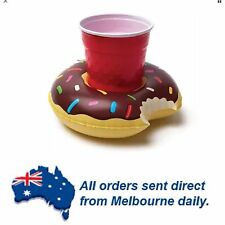 CHOCOLATE Round Yummy Donut Inflatable Drink/Can Float Holder Pool Party Beach
