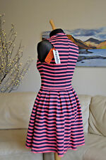 SUPERDRY NEW Premium Scuba Dress Pink Coral Navy Stripe Sz. XS - UK 6