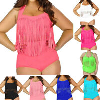 Women Plus Size One Piece Tassels Bikini Monokini Swimwear Beach Bathing Suit DZ