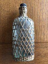 Antique Vintage Wicker Basket Weave Whiskey Glass Flask - Woven Bottle