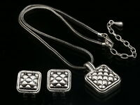 Modern check metal square pendant pewter plated necklace stud earrings set N99