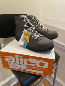 New! $220 Alico Belluno Sz 10.5 Mens Grey Leather Hiking Boots. Made In Italy.