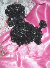 """0105 ~ BLACK PINK POODLE DOG SEQUIN BEADED APPLIQUE 6"""""""