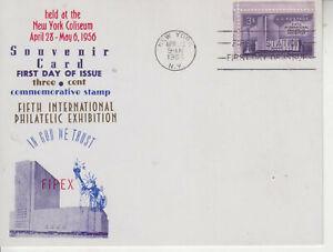 SOUVENIR CARD FIPEX NY COLISEUM #1076  CACHET APR 30 1956 UNADDRESSED 5X 6 1/2