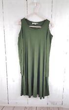 Vanity Room Cold Shoulder Long Sleeve Knit Swing Dress Olive Green