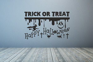 Happy Halloween Witch Trick or treat Wall Decal Sticker Art Any colour or size