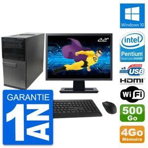 "PC Tour Dell 390 MT Ecran 22"" G630 RAM 4Go Disque Dur 500Go HDMI Windows 10 Wifi"