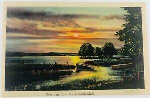 Vintage Mt. Pleasant Michigan MI Linen Postcard Greetings from Mt. Pleasant