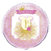 18' Pink/gold 1st Birthday Foil Balloon - Pink Gold 18 Girls Party