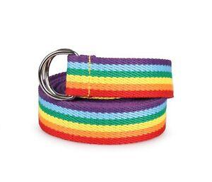 Women Lady Rainbow Stripe Colorful Casual D-ring Canvas Pants Long Belt 136cm