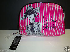 New $44 Izak Zenou Cosmetic Makeup Dome Case Bag Pink White I've Been Chic'ed