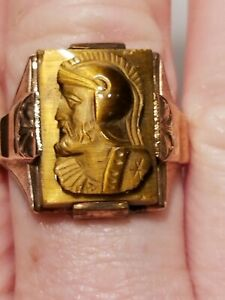 Vintage 10K Yellow Gold Roman Soldier Cameo Ring Marked SB - Sz11