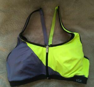 Victoria's Secret VSX Knockout Sports Bra 36B Underwire Colorblock Yellow/Gray
