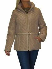 Plus Size Quilted Jacket Hood Lightweight With Belt 12-22 Beige Fits 20-22