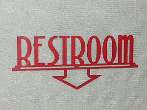 RESTROOM ART DECO STYLE WITH ARROW POINTING DOWN CUSTOM RED WOODEN SIGN
