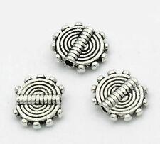 100 Novità Distanziatori Perle Perline Intagliato Argento Antico 10x8.5mm
