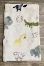 New listing Little Miracles Sherpa Velour Plush Baby Blanket Abc Safari Zoo Animals Guc H4