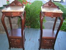 antique pair rosewood horner french night stands,fern,busts stands marble top