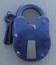 "HUGE Old West Jail Cast Iron Padlock 3"" X 5"" Lock 2 KEYS WORKS Pirate FREE SHIP"