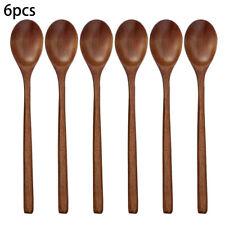 6pcs Cuchara de Madera Bambú Cocina Utensilio Herramientas Soup-Teaspoon Vajilla