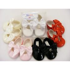 Stunning UK Baypods Baby Girls Spanish Style Romany Large Bow Patent Pram Shoes