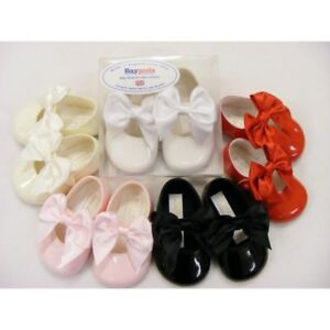 BABY GIRLS SPANISH STYLE SOFT SOLE PRAM SHOES LARGE PICOT BOW PATENT BAYPODS