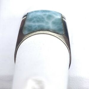 Vintage 925 Sterling Silver Ring With Larimar Stone Size 6.5