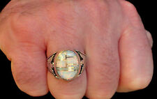 HUGE Fire Opal men ring Z 12.5 1/2 WHITE RED Sterling Silver 925 T-bird Firebird
