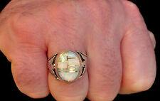 HUGE Fire Opal men ring Z 12.5 1/2 WHITE RED Sterling Silver 925 T-bird Firebird