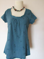 WHITE STUFF Teal Blue Embroidered Bee Jersey T-Shirt Top Tee BNWOT 8-16