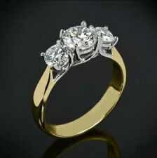 2.30 Ct Round 3-Stone Moissanite Wedding Engagement Ring 14k Two Tone Gold Over