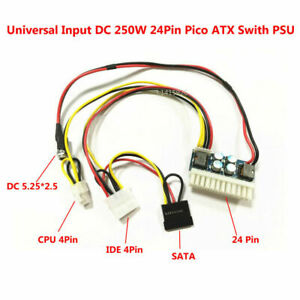 DC 12V 250W 24Pin ATX Switch Pico PSU Car Auto Mini ITX Power Supply Module 1Set