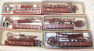 6 Red Caboose HO Milwaukee Road Steel Side Drop Bottom Gondola Kits Different #s