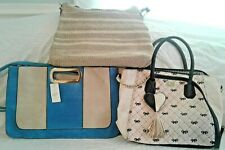 3 Bags –  Betsey Johnson Crossbody/Tote, Faux Leather Clutch, Crochet Bag