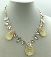 Fashion Necklace Acrylic Faceted Yellow Crystal Rhinestone Runway Statement Gold