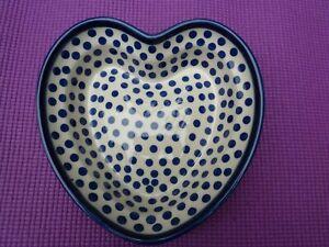 Boleslawiec Polish Pottery Lovely Blue & White Heart Dish VGC