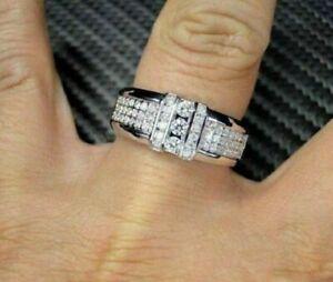 2CT Round Cut Diamond Men's Engagement Wedding Ring Band 14K White Gold Over