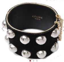 Celine Paris Studs Cuff Manchette Black Silver Bracelet With Tags