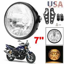"7"" LED Motorcycle Bike Headlight Turn Signal Light Black Bracket Mount Universal"