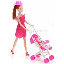 LovelyPlastic Baby Carriage Nursery Stroller Pram for Barbie Dolls DIY Kid Toy