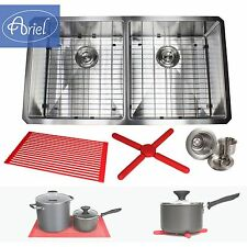 "Ariel 37"" Stainless Steel Undermount Double 50/50 Kitchen Sink 15mm 1/2"" Radius"