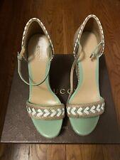Gucci Tiffany Wedge Green Espadrille Heel Sandals 370496 Size 39.5