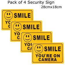 (4) SMILE YOU'RE ON CAMERA Yellow Business Security Sign CCTV Video Surveillance