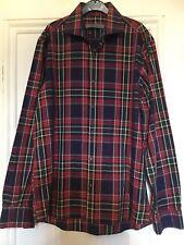 REISS, Men's  Casual Check Print Smart Cotton Shirt, size L