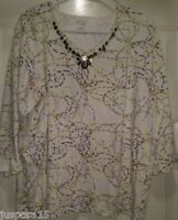 Hasting & Smith Womens Yellow White Brown Green Design Shirt Top Blouse Size 1X