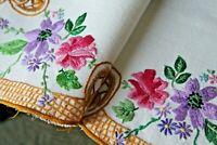"""Vtg Antique Lg Applique Quilt Block Spring Colors Pillows Table Doll Quilt 17/"""""""