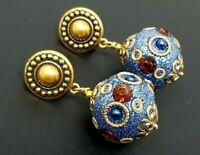 Vintage Blue Enamel  Rhinestone Ball Gold tone Clip Earrings