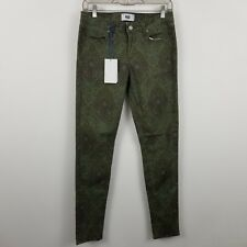 NWT NEW Paige Verdugo Ultra Skinny Green Paisley Women's Jeans Size 28