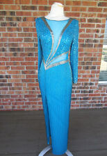 CREATIVE CREATIONS SEQUIN BEADED LONG SLEEVE BUILT IN BRA TURQUOISE BLUE DRESS