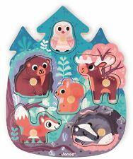 Janod Happy Forêt Puzzle Animaux Enfants Bébé Éducatif Jouet en Bois 18m + BN